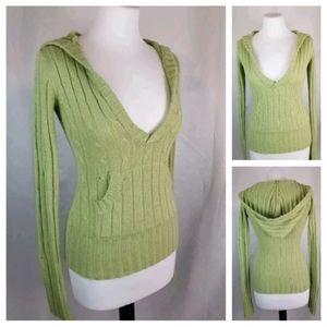 Majora S Avocado Green Hooded V-Neck Sweater
